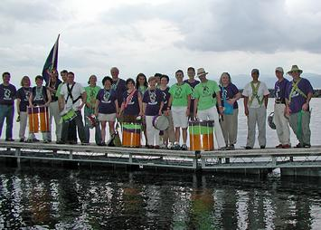 Group photo on dock